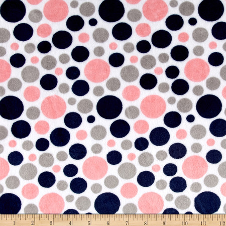Minky Classic Bubble Dot Cuddle Coral/Navy Fabric By The Yard