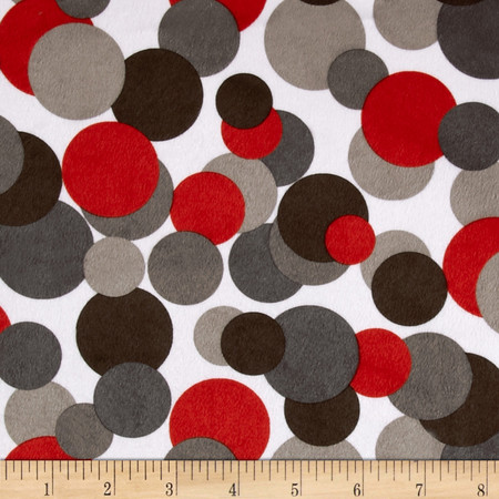 Minky Candy Circles White/ Grey/Black/Red Fabric By The Yard