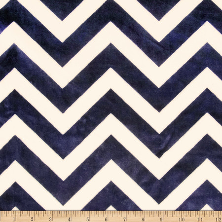 Minky Cuddle Chevron Navy/Ivory Fabric By The Yard