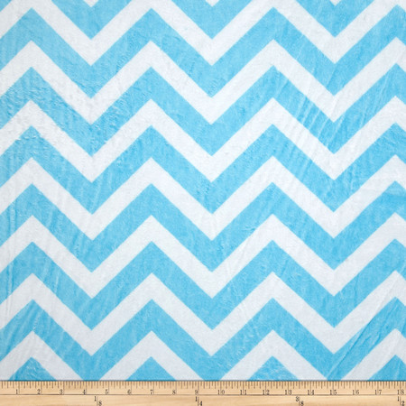 Minky Cuddle Chevron Turquoise/Snow Fabric By The Yard