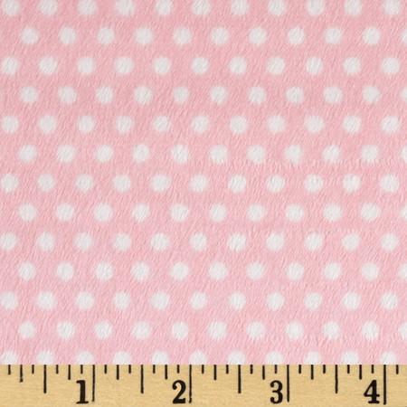 Minky Cuddle Classic Swiss Dot Blush/White Fabric By The Yard
