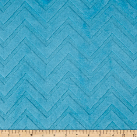 Minky Cuddle Embossed Chevron Turquoise Fabric By The Yard