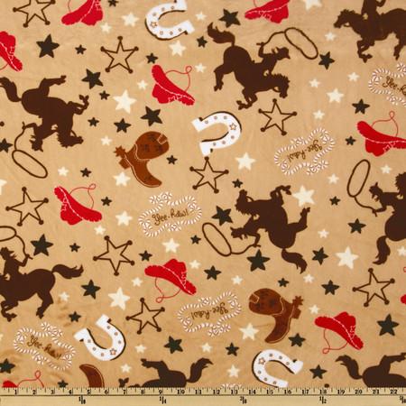 Minky Cuddle My Lil Buckaroo Camel Fabric By The Yard