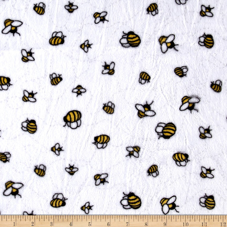 Minky Cuddle Prints Bees-A-Buzz Sunshine Fabric By The Yard