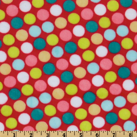 Minky Cuddle Retro Dot Coral/Teal Fabric By The Yard
