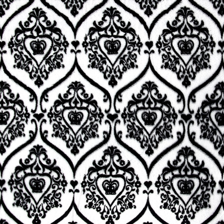 Minky Damask Crown Black/White Fabric
