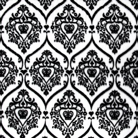 Minky Damask Crown Black/White Fabric