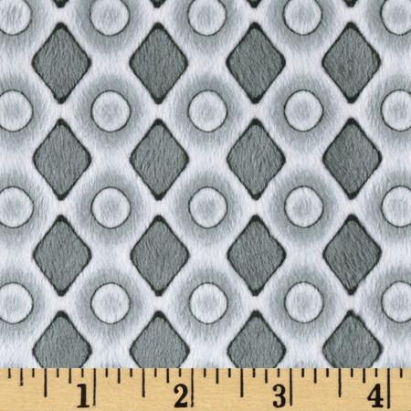 Minky Diamonds & Dots Grey Fabric