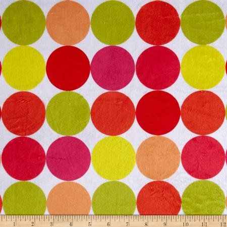 Minky Discus Pink/Green Fabric By The Yard