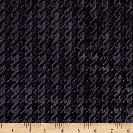 Minky Embossed Houndstooth Ash Fabric By The Yard