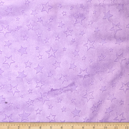 Minky Embossed Star Cuddle Lilac Fabric By The Yard