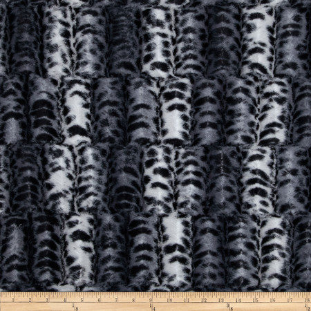 Minky Fancy Puma Soft Cuddle Silver/Black Fabric