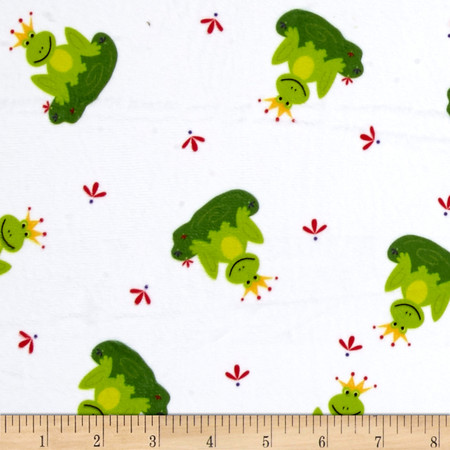 Minky Frogs Prince White Green Fabric By The Yard