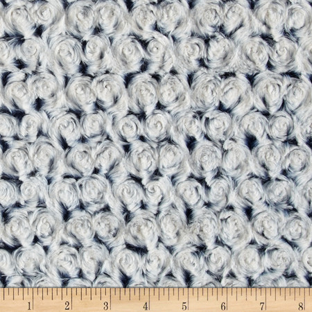 Minky Frosted Rose Cuddle Navy/Platinum Fabric By The Yard