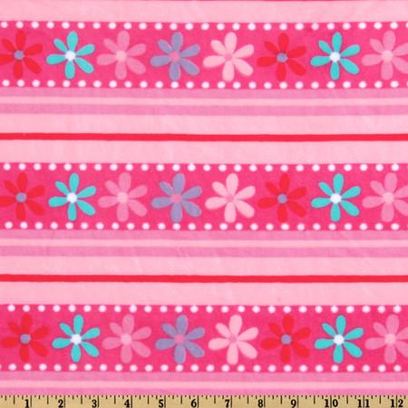 Minky Funky Monkey Cuddle Daisy Stripe Fuchsia/Pink Fabric