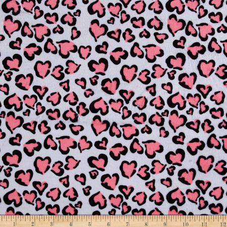 Minky Heart of Beast Neon Pink Fabric By The Yard