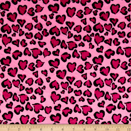 Minky Heart of Beast Pink Fabric By The Yard