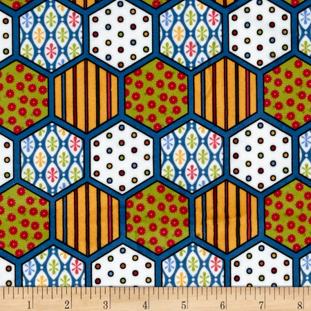 Minky Hexagon Blue Fabric By The Yard