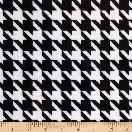 Minky Houndstooth Black/White Fabric By The Yard