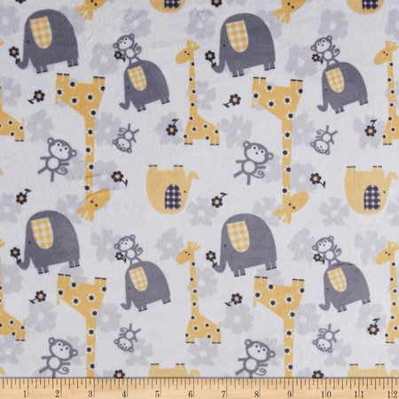 Minky Jungle Dreams Yellow Fabric By The Yard