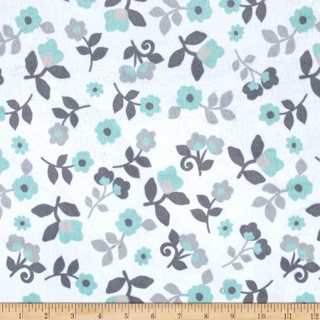 Minky Kashmir Floral Grey/Mint Fabric By The Yard