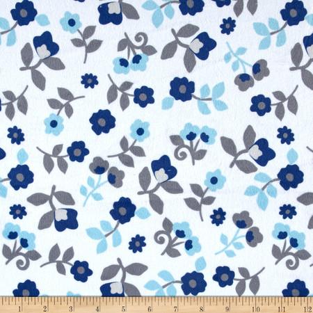 Minky Kashmir Floral Sky/Navy Fabric By The Yard