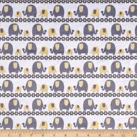Minky Marching Elephants Yellow Fabric By The Yard