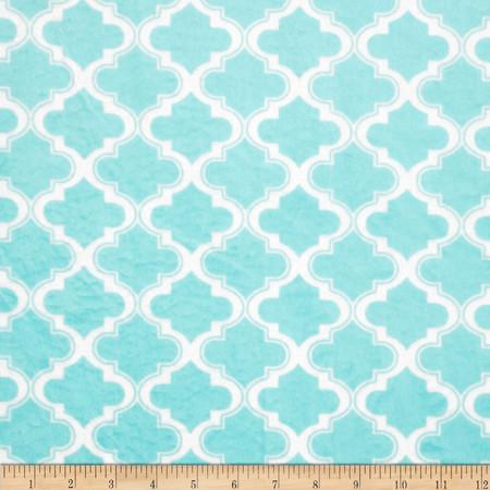 Minky Moroccan Tile Aqua Marine Fabric By The Yard