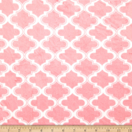 Minky Moroccan Tile Light Pink Fabric By The Yard
