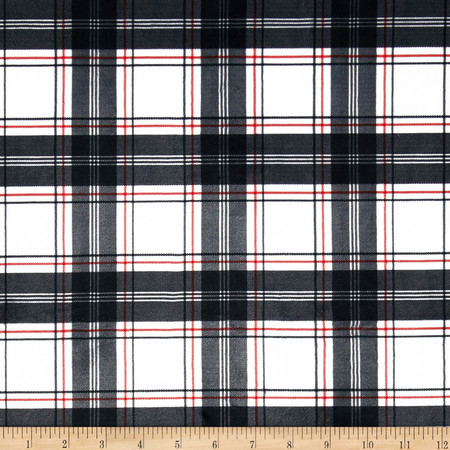 Minky New Plaid Black/White/Red Fabric By The Yard