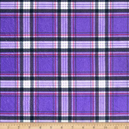 Minky New Plaid Purple Fabric