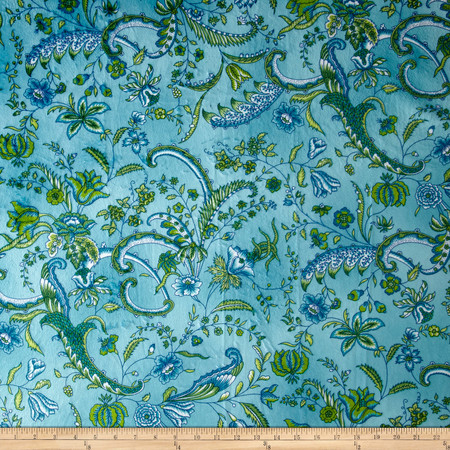 Minky Prints Sweet Pea Turquoise Fabric By The Yard