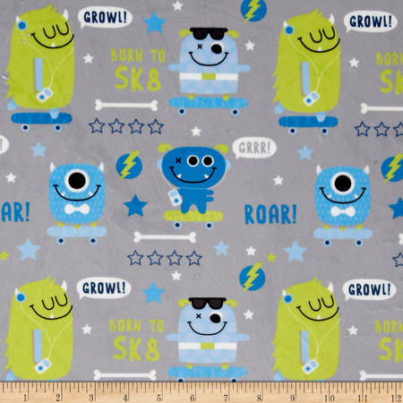 Minky SK8 Monsters Grey Fabric By The Yard