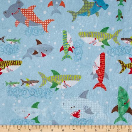 Minky Sharkies Coastal Blue Fabric By The Yard
