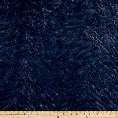 Minky Soft Bengal Cuddle Navy Fabric By The Yard
