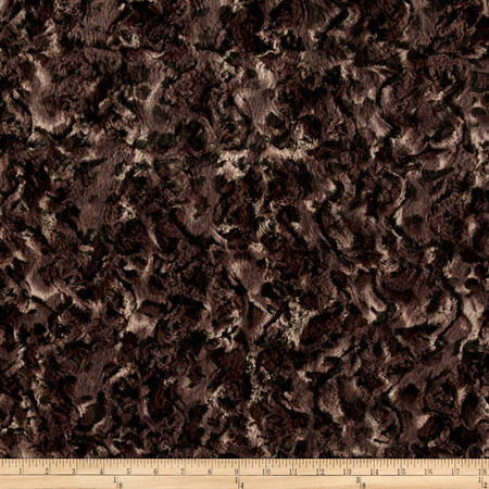 Minky Soft Cuddle Bobcat Taupe/Black Fabric By The Yard