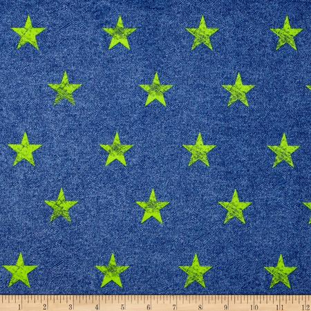 Minky Stars Blue/Neon Lime Fabric