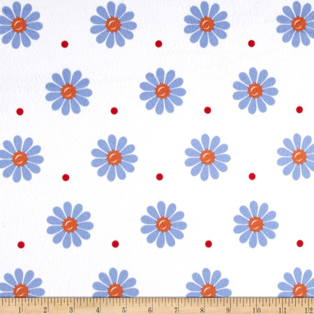Minky Sunshine Daisies White/Blue Fabric By The Yard