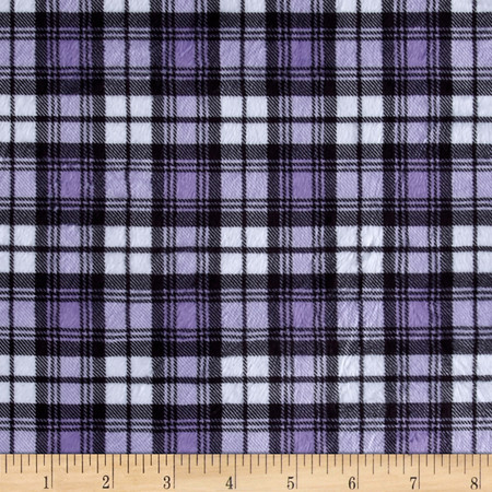 Minky Swatch Plaid Light Purple Fabric By The Yard