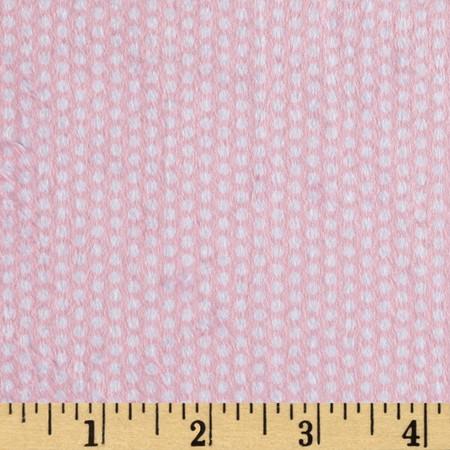 Minky Swiss Dot Pink/White Fabric By The Yard