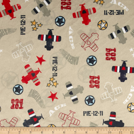 Minky Top Dog Khaki Fabric By The Yard