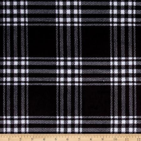 Minky Treas Plaid Black Fabric By The Yard