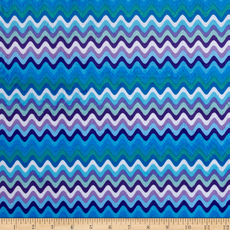 Minky Waves Blue Fabric By The Yard