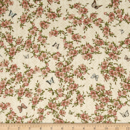 Mirabelle Flower Vine Cream Fabric By The Yard