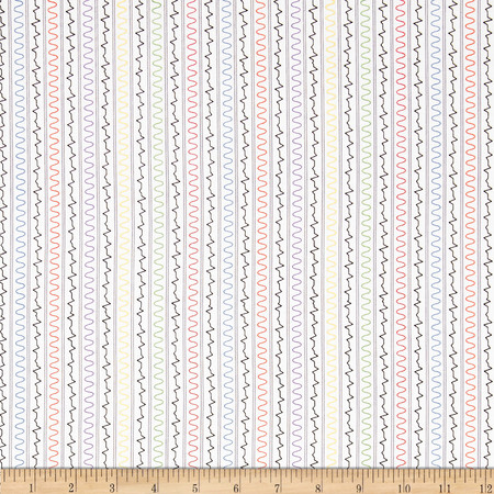 Mission Space Squiggle Stripe White Fabric