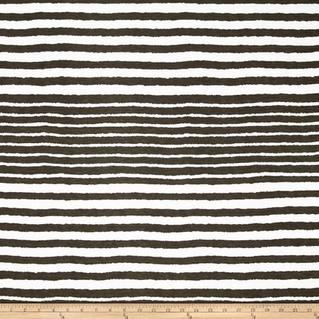 Misty Stretch ITY Slub Jersey Knit Stripes Coffee/Off White Fabric