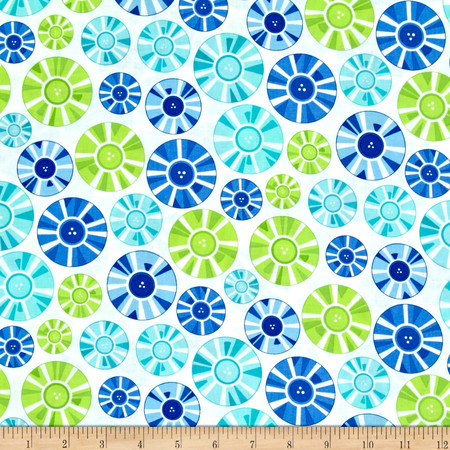 Moda Brighten Up! Circle Up Blue/Green Fabric By The Yard