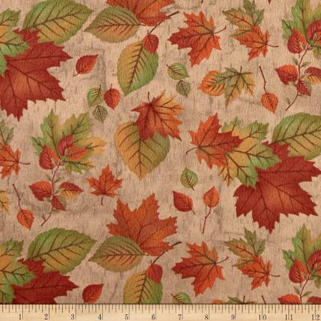 Moda Endangered Sanctuary Flannel Autumn Leaves Pecan Fabric By The Yard