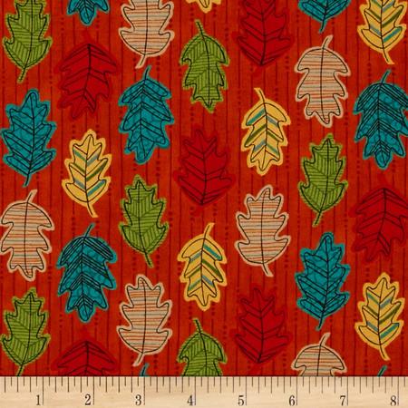 Moda Forest Fancy Falling Leaves Harvest Orange Fabric