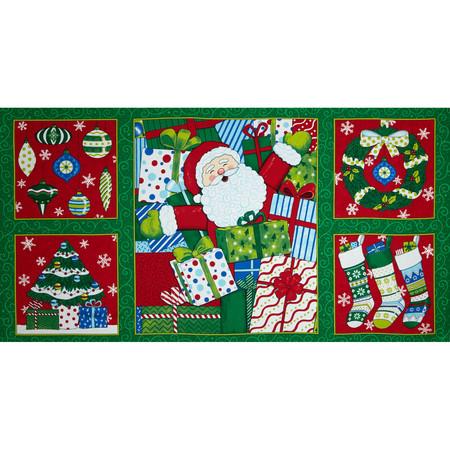 Moda Ho! Ho! Ho! 36'' Panel Christmas Tree Green Fabric By The Yard